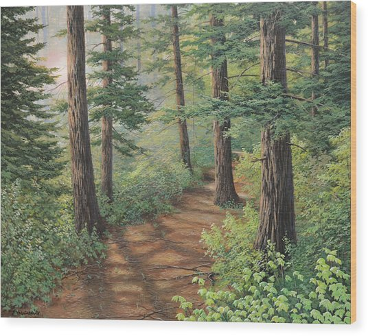 Trail Of Green Wood Print