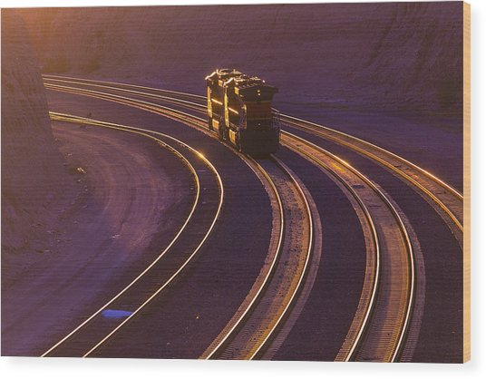 Train At Sunset Wood Print