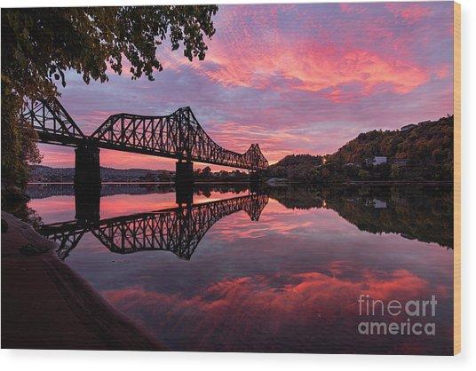 Train Bridge At Sunrise  Wood Print