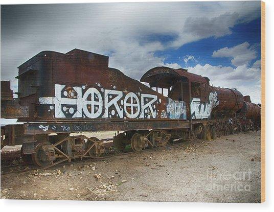 Train Graveyard Uyuni Bolivia 13 Wood Print