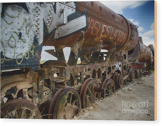 Train Graveyard Uyuni Bolivia 14 Wood Print