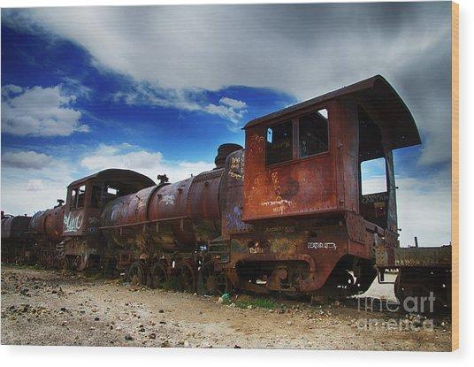 Train Graveyard Uyuni Bolivia 15 Wood Print