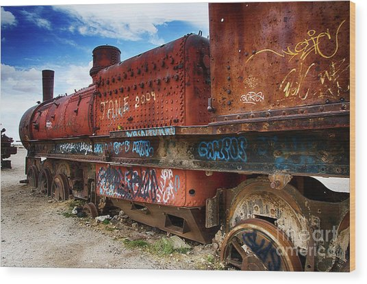Train Graveyard Uyuni Bolivia 18 Wood Print