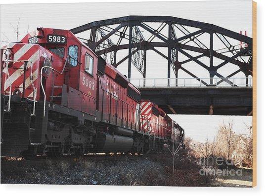 Train Wood Print by John Rizzuto