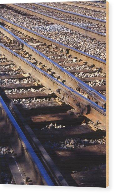 Train Rails Wood Print by Randy Muir