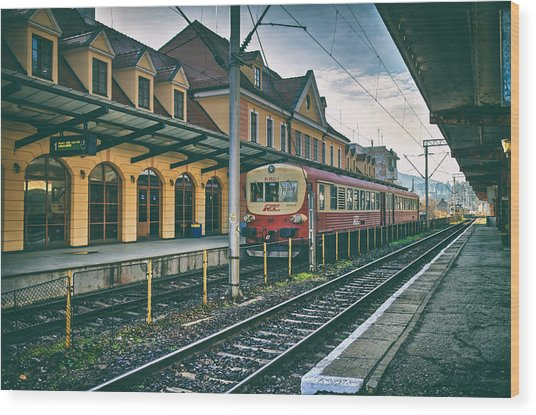 Train Station Sighisoara Wood Print