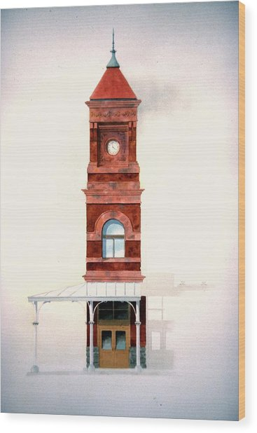 Train Station Tower Wood Print