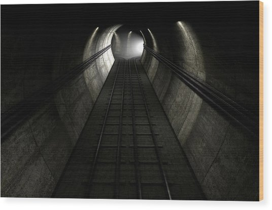 Train Tracks And Approaching Train Wood Print by Allan Swart