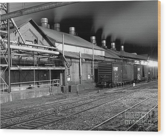 Train Yard Wood Print