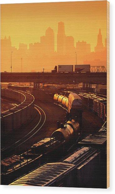 Trains At Sunrise Wood Print