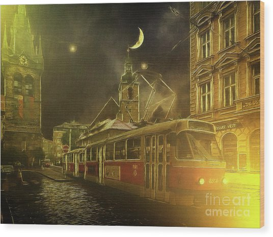 Tramatic - Prague Street Scene Wood Print