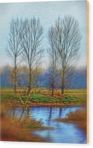 Tranquil Misty Morning Wood Print