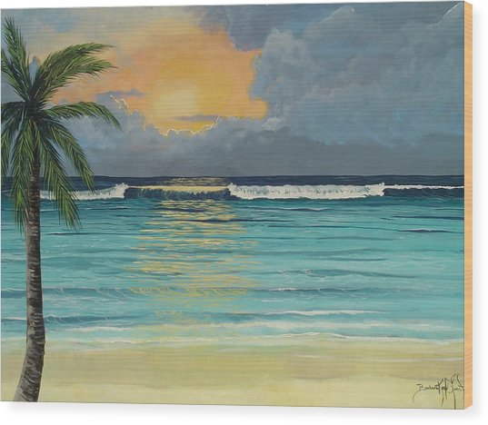 Tranquil Sunset Wood Print by Barbara Keel
