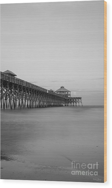 Tranquility At Folly Grayscale Wood Print