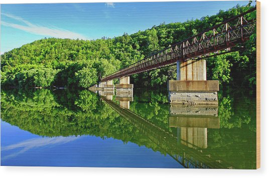 Tranquility At The James River Footbridge Wood Print