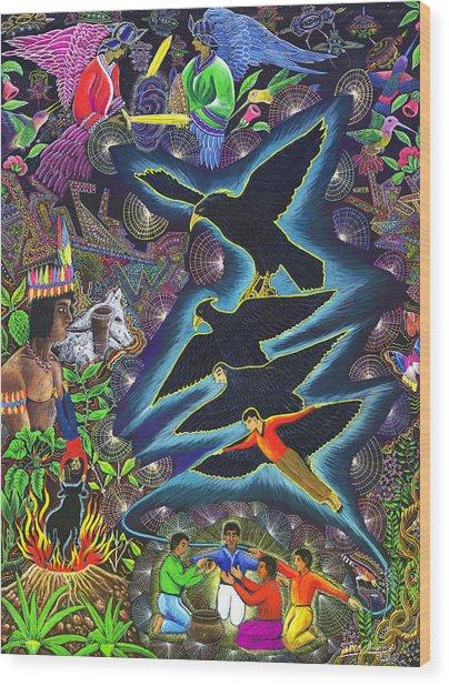 Wood Print featuring the painting Transformacion Del Chaman En Aguila  by Pablo Amaringo