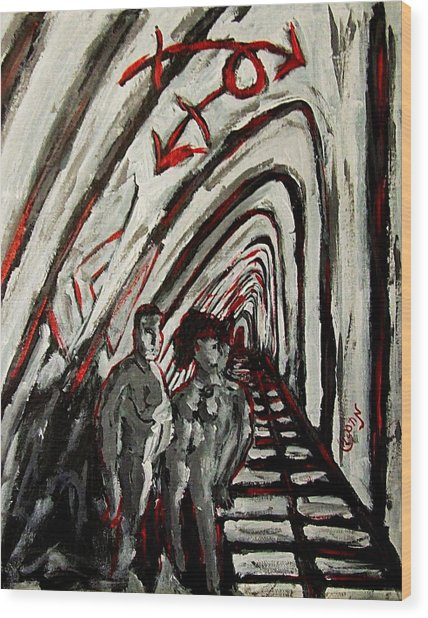 Transgender Entity Nude In Modern Hallway With Arches And Gender Symbols Of Trans Changes Struggle Wood Print