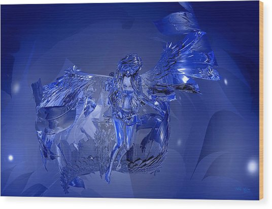 Transparent Blue Angel Wood Print