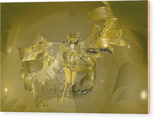 Transparent Gold Angel Wood Print