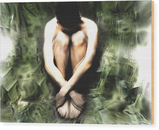 Traped Man Wood Print by Naikos N