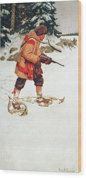 Trapper With Wolves Wood Print