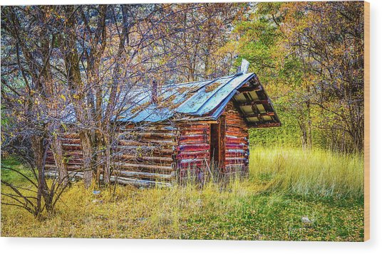 Trappers Cabin Wood Print