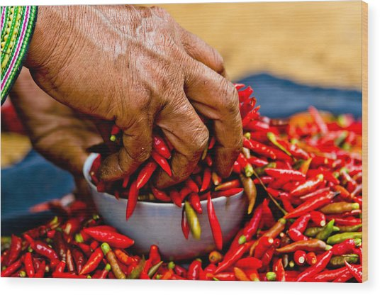 Woman Holding Red Chillies, Can Cau Market, Sapa,vietnam Wood Print