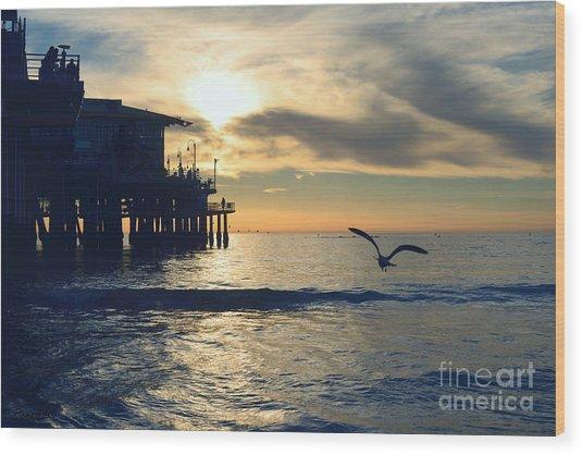 Seagull Pier Sunrise Seascape C1 Wood Print