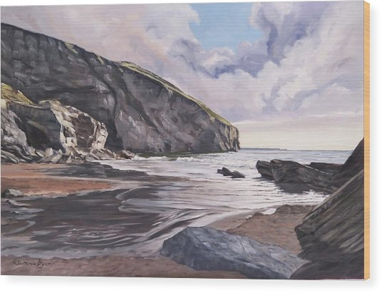 Wood Print featuring the painting Trebarwith Strand by Lawrence Dyer