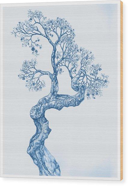Tree 14 Blue 1 Wood Print