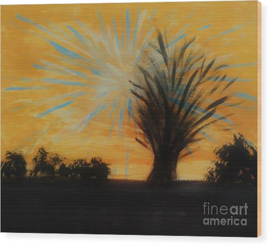 Tree And Lightning Wood Print by Marie Bulger