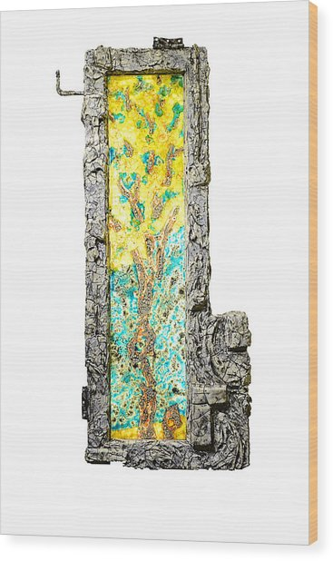 Tree And Stump Inside A Window Wood Print