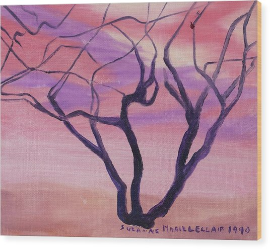 Tree At Sunset Wood Print by Suzanne  Marie Leclair