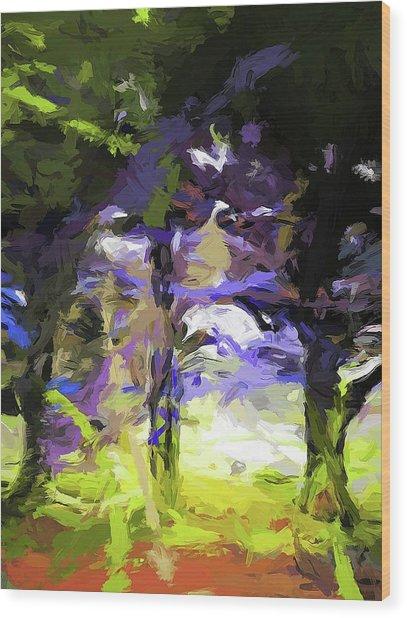 Tree Avenue Lavender Lilac Green Wood Print