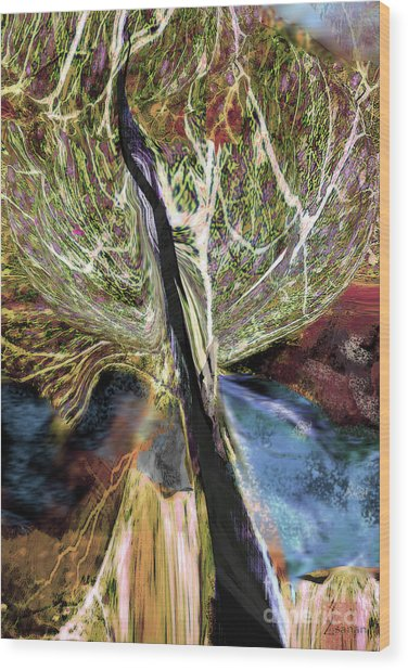 Tree Bent By Wind Wood Print