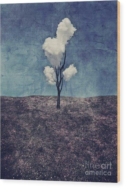 Tree Clouds 01d2 Wood Print