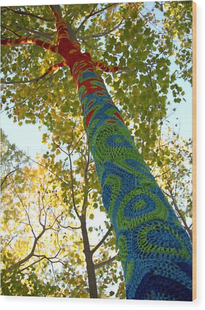 Tree Crochet Wood Print