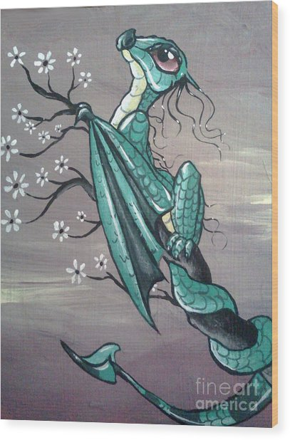 Wood Print featuring the painting Tree Dragon II by Mary Hoy