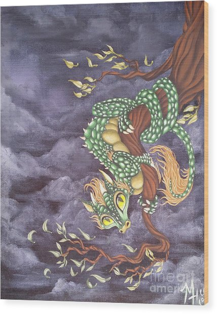 Wood Print featuring the painting Tree Dragon by Mary Hoy