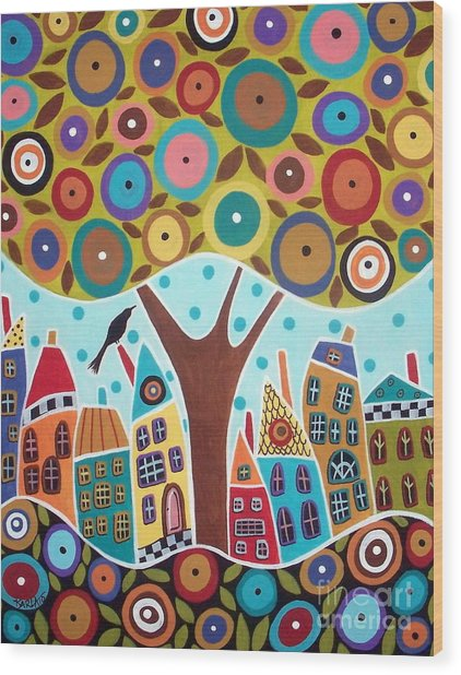 Tree Eight Houses And A Bird Wood Print