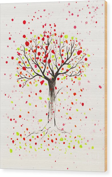 Tree Explosion Wood Print