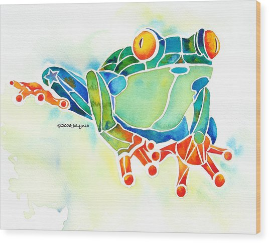 Tree Frog In Greens Wood Print by Jo Lynch