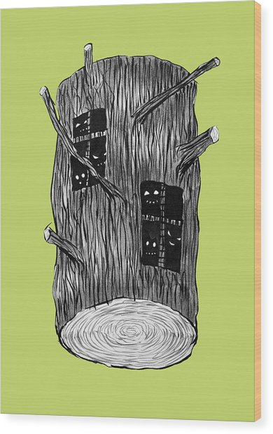 Tree Log With Mysterious Forest Creatures Wood Print