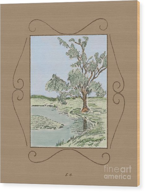 Tree Mirror In Lake Wood Print