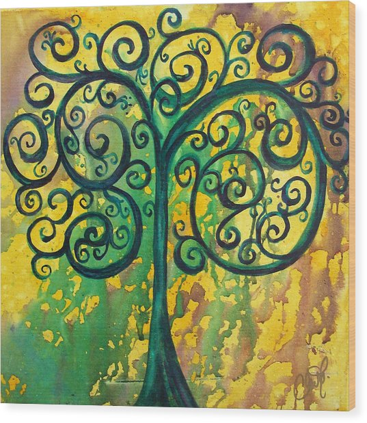 Tree Of Life - Yellow Green Wood Print