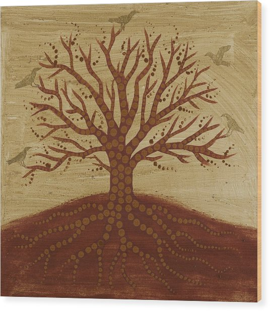 Tree Of Life 3 Wood Print by Sophy White
