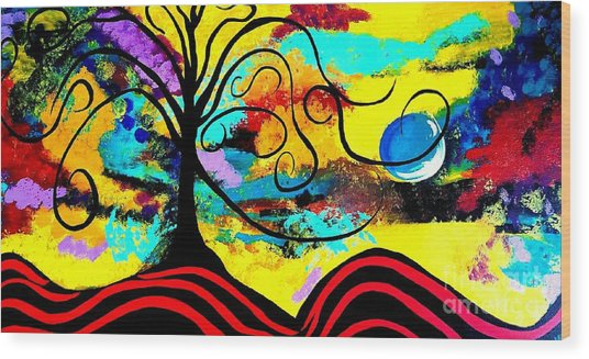 Tree Of Life Abstract Painting  Wood Print