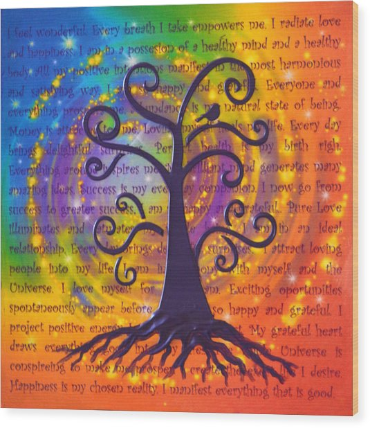 Tree Of Life And Positive Affirmations Wood Print