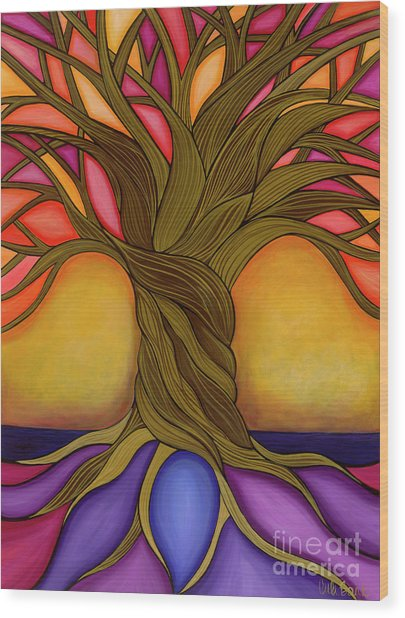 Wood Print featuring the painting Tree Of Life by Carla Bank