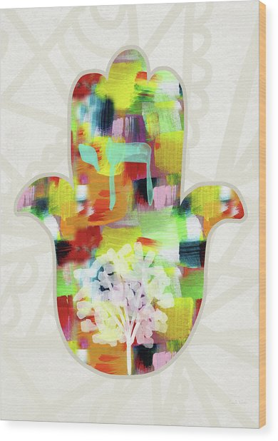 Tree Of Life Hamsa- Art By Linda Woods Wood Print